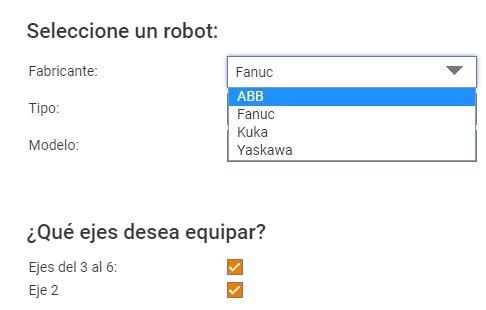 Selección marca robot